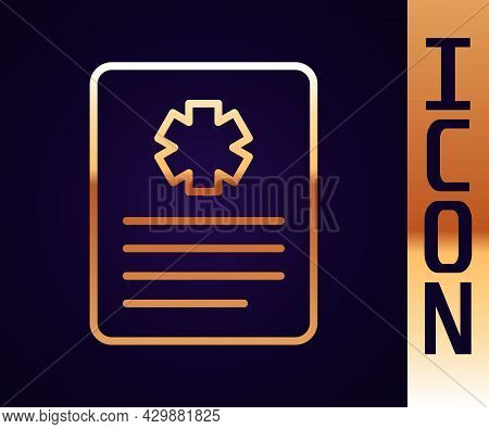 Gold Line Medical Clipboard With Clinical Record Icon Isolated On Black Background. Prescription, Me