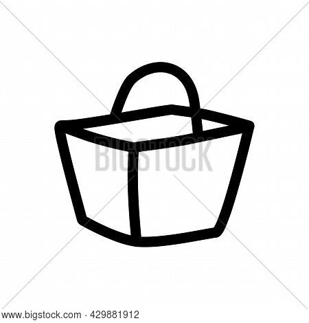 Basket Sign. Picnic Basket Isolated Simple Line Icon
