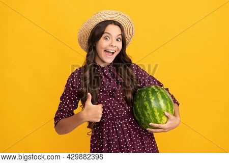Kid With Fruit. Healthy Food For Children. Fructose Healthy Eating On Summer Vacation.