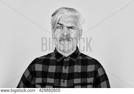 Handsome Man Unshaven Face. Barber Master With Moustache. Bearded Man Checkered Shirt. Hipster Dyed