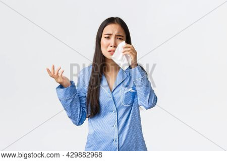 Heartbroken And Depressed Asian Girl Complaining On Cheating Boyfriend During Sleepover, Talking To