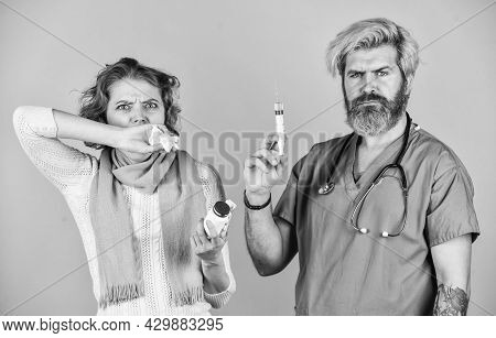 Drug Injection. Virus Pandemic. Flu Concept. Medical Injection. Vaccine Development. Man Nurse With