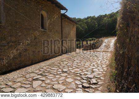 Rosciolo Dei Marsi , Italy-august 7, 2021:the Romanesque Church, Of Benedictine Origin, Is Located I