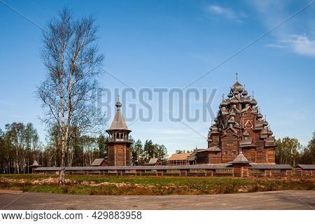 Restored Orthodox Wooden Twenty-five-headed Church Of The Intercession Of The Blessed Virgin (pokrov