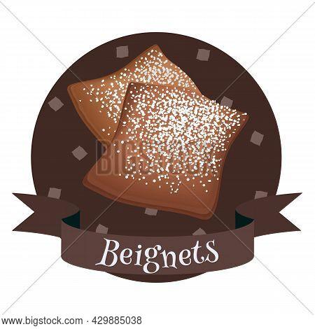 French Dessert Beignets. Colorful Illustration For Cafe, Bakery, Restaurant Menu, Logo, Label Or Foo