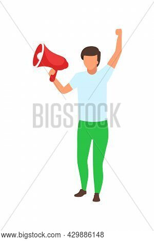 Male Activist With Loudspeaker Semi Flat Color Vector Character. Full Body Person On White. Demandin