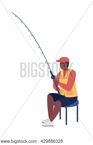 Young Man With Fishing Pole Semi Flat Color Vector Character. Full Body Person On White. Guy With Ca