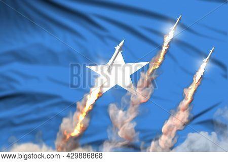 Somalia Nuclear Warhead Launch - Modern Strategic Nuclear Rocket Weapons Concept On Flag Fabric Back