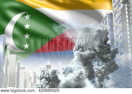 Big Smoke Pillar In Abstract City - Concept Of Industrial Explosion Or Act Of Terror On Comoros Flag