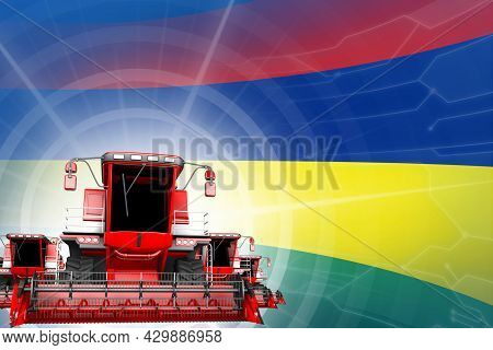 Farm Machinery Modernisation Concept, Red Modern Grain Combine Harvesters On Mauritius Flag - Digita