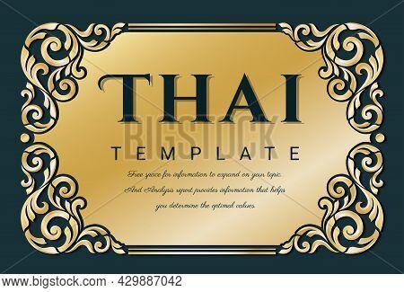 Decorative Thai Traditional Art Frame For Invitations, Frames, Menus, Labels And Websites. Elegant V