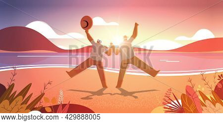 Senior Couple Dancing Old Man And Woman Having Fun Active Old Age Concept Seascape Sunset Background