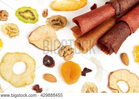 Close Up Of Fruit Lozenge Different Colors And Almonds, Orange, Dried Apricot, Raisins, Walnuts, Dri