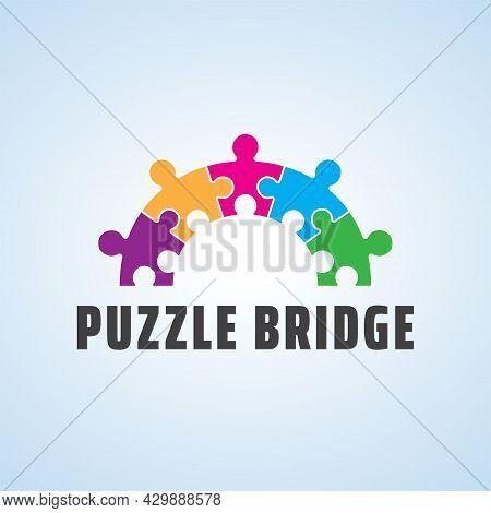 Playful Logo For Autism. Colorful Puzzle Bridge Vector Design. Suitable For Communities, Foundations