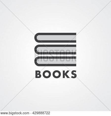 Minimal Book Stack Logo For Bookstores, Libraries, Publishers, Reader Communities, Encyclopedias And