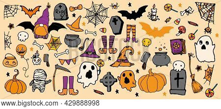 A Vector Set For Halloween In A Cartoon Style In Orange And Purple Colors. Hand-drawn In Doodle Styl