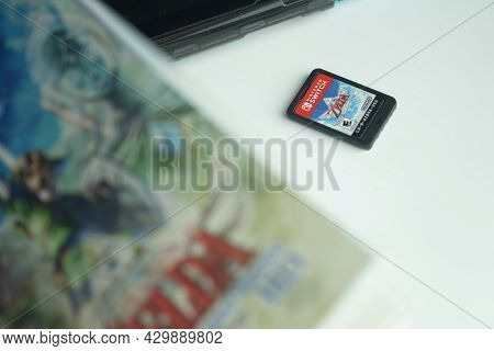 Samut Prakan, Thailand - August 15, 2021 : The New Game Cartridge Of The Nintendo Switch Video Game