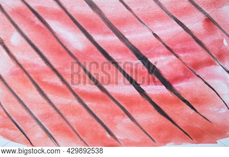 Abstract Watercolor Red Background With Black Diagonal Lines