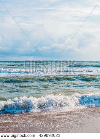 Beautiful Landscape, Vertical Shot: Storm At Sea On A Sunny Day And Cloudy Sky