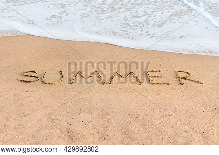Summer Vacation Concept At Sea. Sandy Shore And Wave