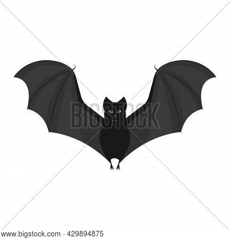 An Image Of A Black Bat With Fangs And Bright Orange Eyes. A Bat With Open Wings. A Blood-sucking Fl
