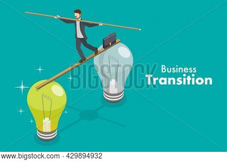 3d Isometric Flat Vector Conceptual Illustration Of Business Transition, Technological Change