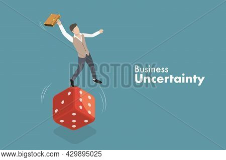 3d Isometric Flat Vector Conceptual Illustration Of Business Uncertainty, Financial Instability And