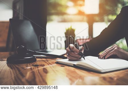 Close Up Lawyer Businessman Working Or Reading Lawbook In Office Workplace For Consultant Lawyer Con