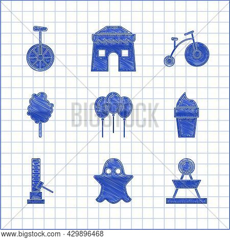Set Balloons With Ribbon, Ghost, Attraction Carousel, Ice Cream In Waffle Cone, High Striker Attract