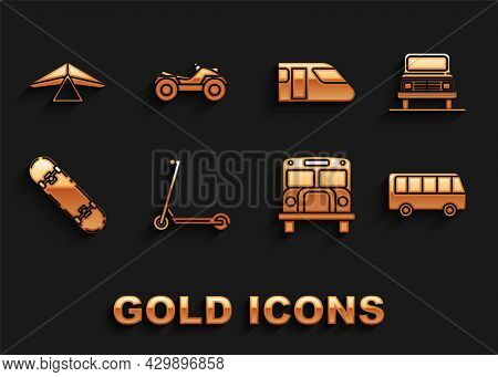 Set Scooter, Car, Bus, School, Skateboard, Train, Hang Glider And All Terrain Vehicle Or Atv Motorcy