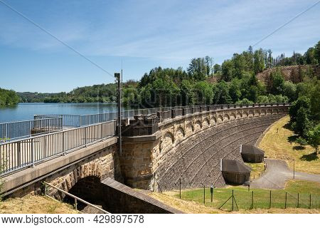 Panoramic Image Of Lingese Reservoir Close To Marienheide, Bergisches Land, Germany