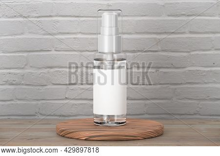 Medical Or Cosmetic Spray Mockup On Brick Background. Empty Spray Bottle Mockup. Black Spray Lid. Tr