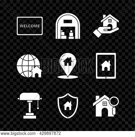 Set Doormat With The Text Welcome, Warehouse, Realtor, Table Lamp, House Shield, Search, Globe Symbo