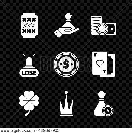 Set Slot Machine With Lucky Sevens Jackpot, Hand Holding Money Bag, Casino Chips Stacks Cash, Four L