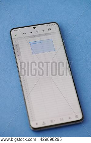 New York, Usa - June 28 2021: Editing Excel Document In Google Docs  On Smartphone Screen Close Up