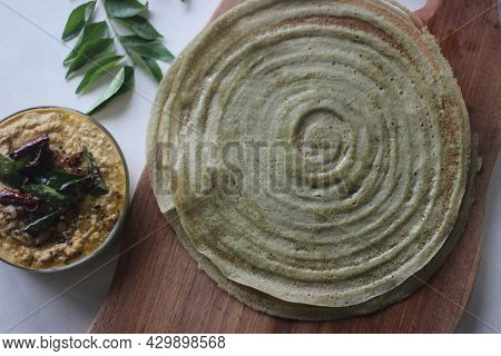 Protein Rich Moong Bean Crepe, Locally Known As Pesarattu. It Looks Like Dosa But Not Made With Ferm