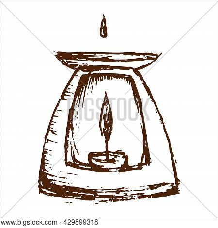 Aroma Lamp With Candle. Essential Oil Hand Draw. Aromatherapy Vector Illustration.