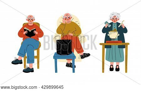 Senior Grey-haired Man And Woman Cooking And Reading Book In Armchair Vector Set
