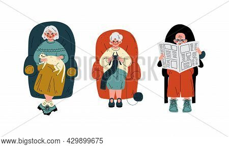 Senior Grey-haired Man And Woman In Armchair Knitting And Reading Newspaper Vector Set