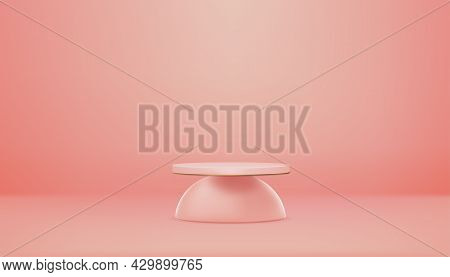 Studio Room, 3d Podium Cylinder Display With  Empty Wall With Spotlight In Peach Colour,vector Reali
