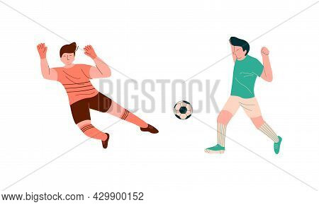 Young Man Playing Football Or Soccer Moving The Ball Running Around Pitch Scoring Goals Vector Set