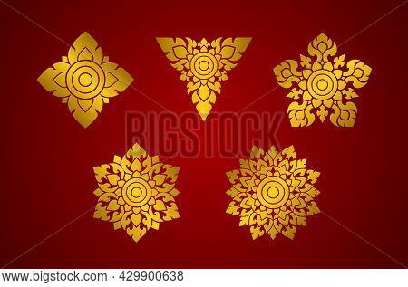 Thai Art Elements Pattern Set. Gold On A Red Background. Shapes Triangle, Square, Pentagon, Hexagon
