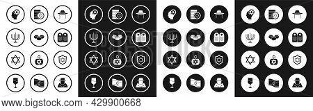 Set Orthodox Jewish Hat, Jewish Sweet Bakery, Hanukkah Menorah, Tombstone With Star Of David, Coin,