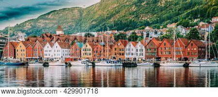 Bergen, Norway. View Of Historical Buildings Houses In Bryggen - Hanseatic Wharf In Bergen, Norway.
