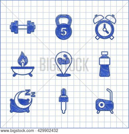 Set Bodybuilder Muscle, Pipette With Oil, Stationary Bicycle, Bottle Of Water, Time To Sleep, Aroma