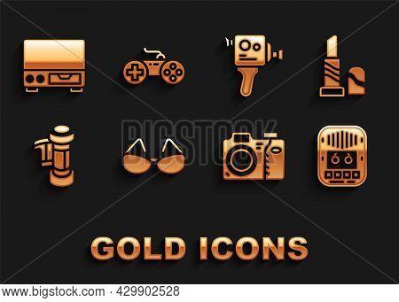 Set Glasses, Lipstick, Cassette Tape Player, Photo Camera, Camera Roll Cartridge, Retro Cinema, Old