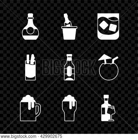 Set Bottle Of Cognac Or Brandy, Champagne In Ice Bucket, Glass Whiskey, Wooden Beer Mug, Wine Bottle