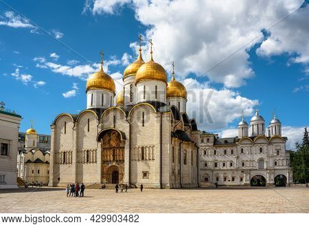 Moscow - June 2, 2021: Dormition Cathedral (assumption) In Moscow Kremlin, Russia. Old Russian Ortho