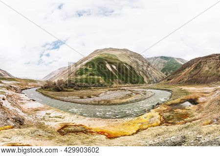 Terek River Flows Through Georgia And Russia Into Caspian Sea. Spring Landscape With River Terek Nea