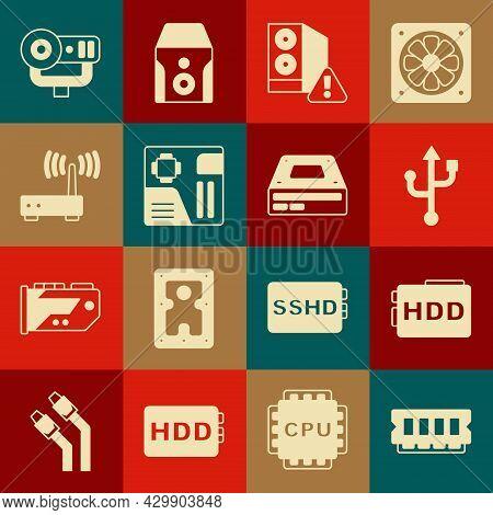 Set Ram, Random Access Memory, Hard Disk Drive Hdd, Usb, Case Of Computer, Motherboard Digital Chip,